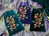 silk velvet, embroidered, insects embroidery, pomegranates, embroidered tarot pouch, tarot bag