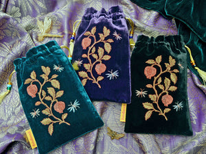 silk velvet, embroidered, insects, pomegranates, embroidered tarot pouch, tarot bag