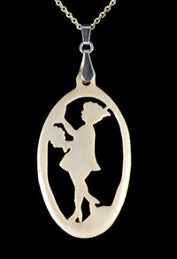 Antique fairytale bone pendant. 1920s old/new stock vintage bone jewelry