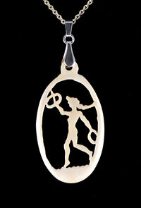Gymnast- antique carved bone fairy tale pendant. Handmade