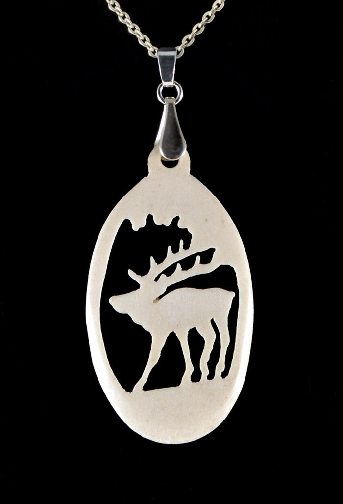 Stag pendant in hand carved bone.  Ivory antique vintage 1920s