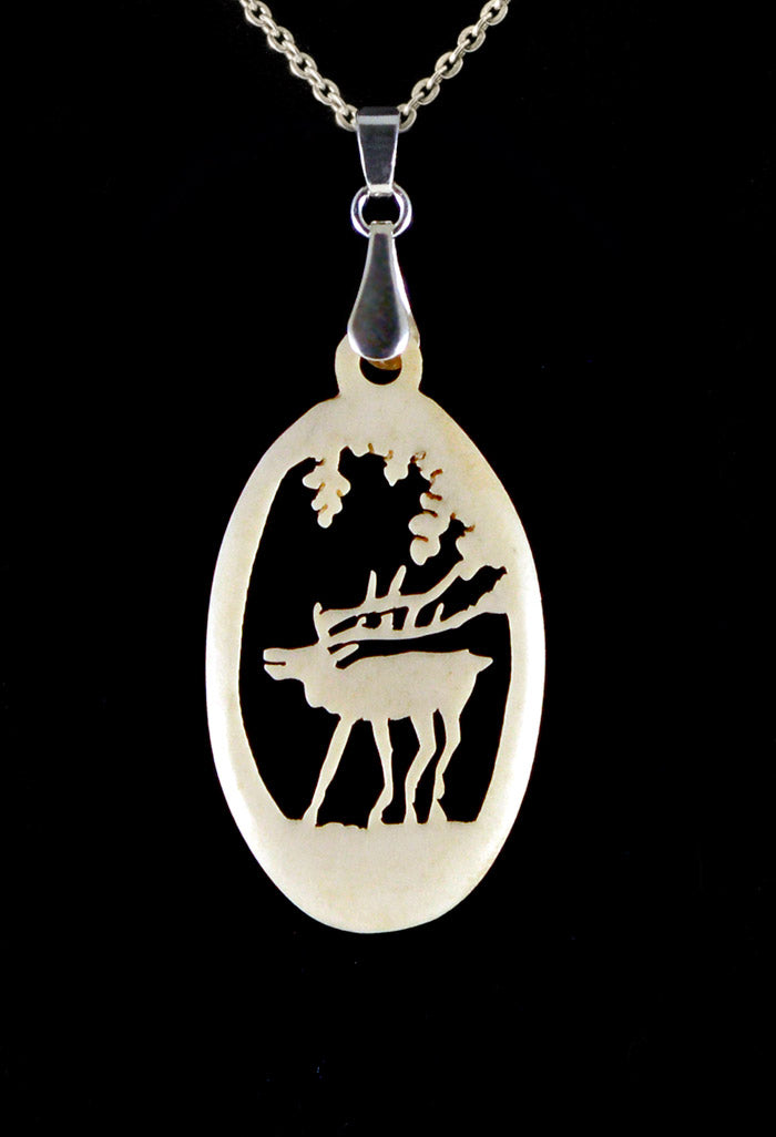 Stag pendant jewelry. Carved bone. Handmade hand-carved antique vintage.