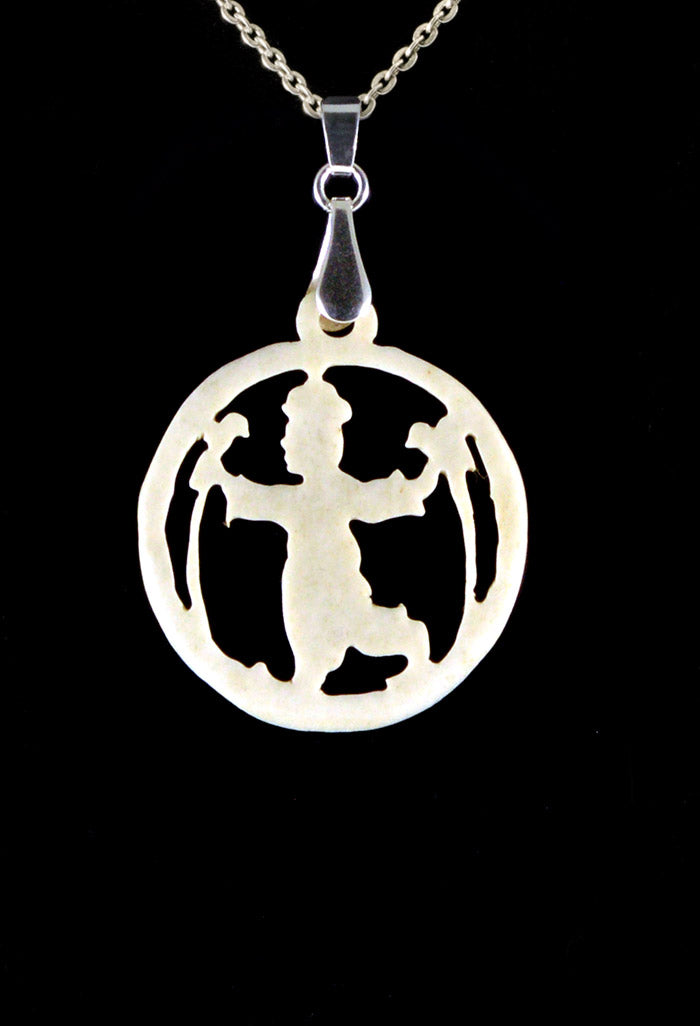 Estate jewelry Necklace Fairytale boy with parrots hand carved handmade bone ivory antique vintage pendant