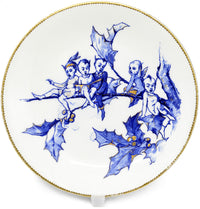 fairytale, fairies, christmas, elves, staffordshire, porcelain, plate, brownfield