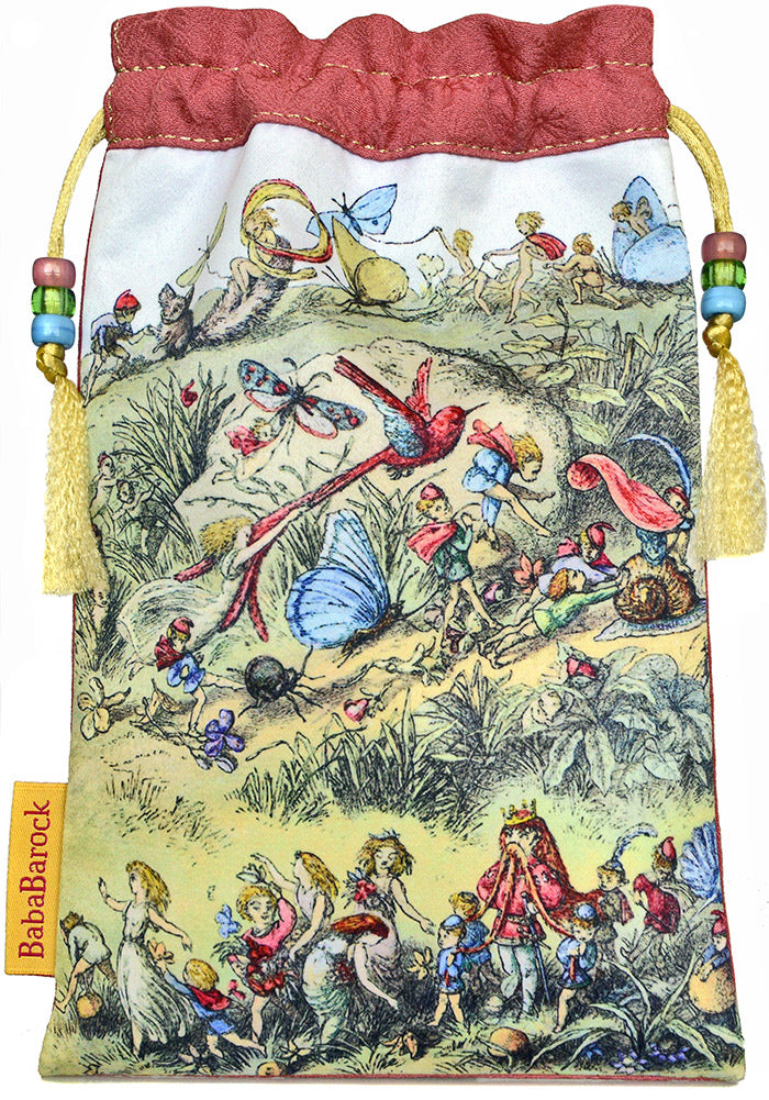 fairy drawstring, tarot bag, richard doyle, fairy tale, faery, victorian, printed