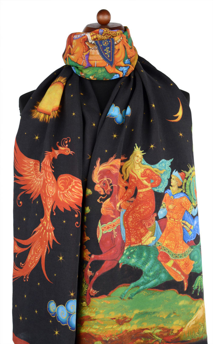 The Firebird viscose scarf / wrap, printed scarves by Baba Studio