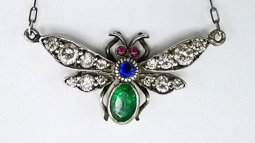 victorian silver fly pendant with diamonds, ruby, sapphire and emerald. Antique jewellery, insect jewelry,