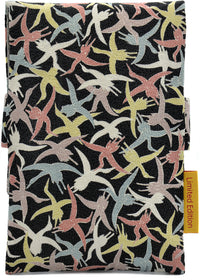 Flying Birds, Japanese antique silk foldover pouch.
