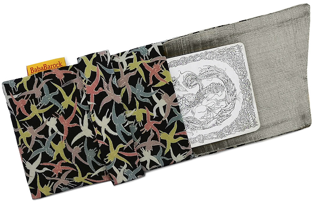 Flying Birds - Japanese antique silk foldover pouch