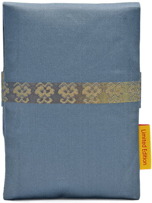 Slight Second. Soft Blue and Golds - foldover tarot pouch in vintage Japanese silk.