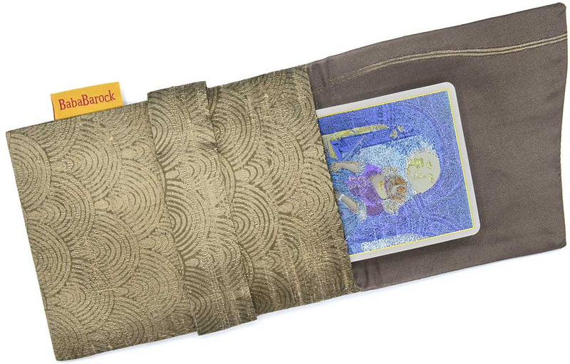 Handmade tarot bag lined in silk, tarot foldover pouch in pure silk, artisan bags by Baba Studio.