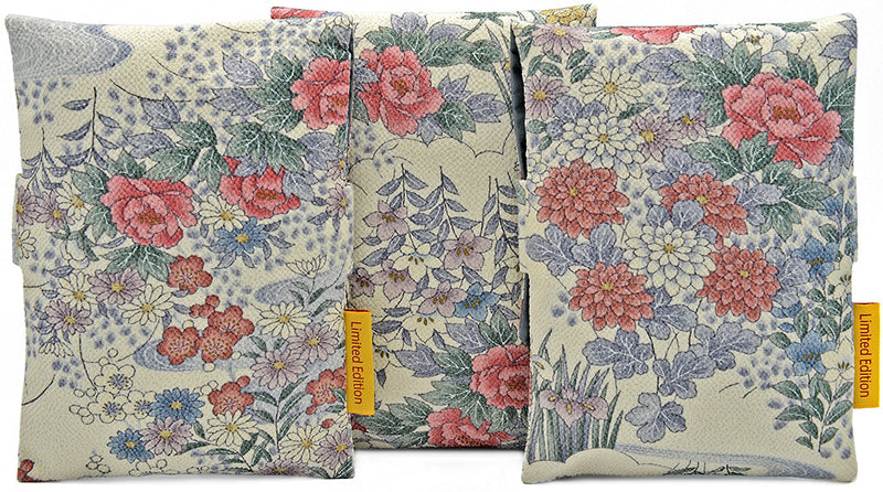 Backs of foldover tarot pouches, limited edition tarot bags, vintage silk with floral design. By Baba Studio / BabaBarock.