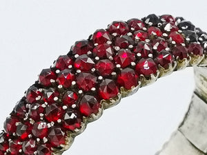 close up of antique 19th century bohemian garnet bracelet