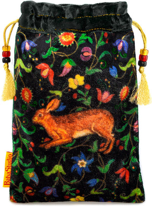 Little brown rabbit or hare drawstring tarot bag, pouch. Based on medieval images. Printed on silk velvet. By Baba Studio