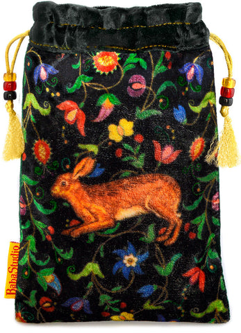 The Little Brown Hare bag. Printed on silk velvet. Black velvet version.