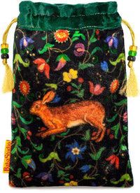 The Little Brown Hare bag. Printed on silk velvet. Green velvet version. - Baba Store - 1