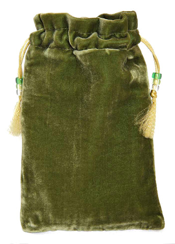 Jazzy Celtic Evening — green silk velvet tarot bag