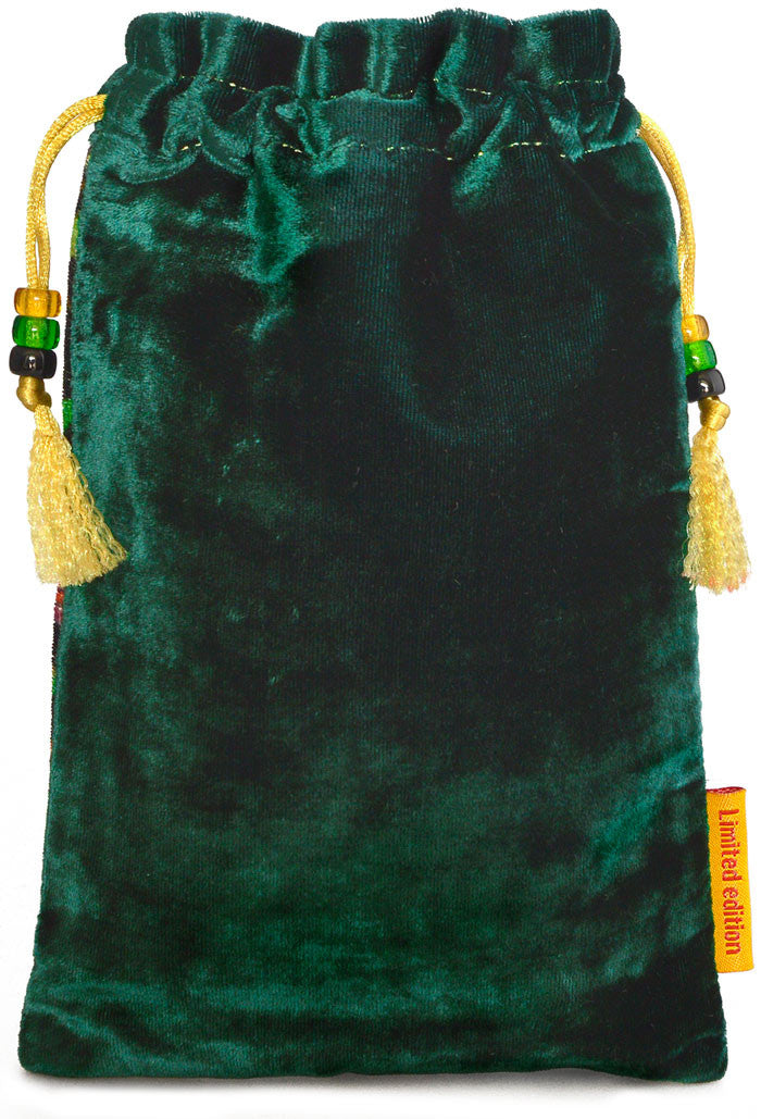 The Ginger Cat bag. Printed on silk velvet. Green velvet version. - Baba Store - 2