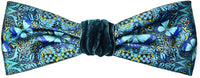 Blue Butterflies headband, printed satin & silk velvet head piece by Baba Studio.
