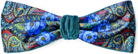 Velvet headband by Baba Studio. Blue Roses design in printed satin and teal silk velvet.