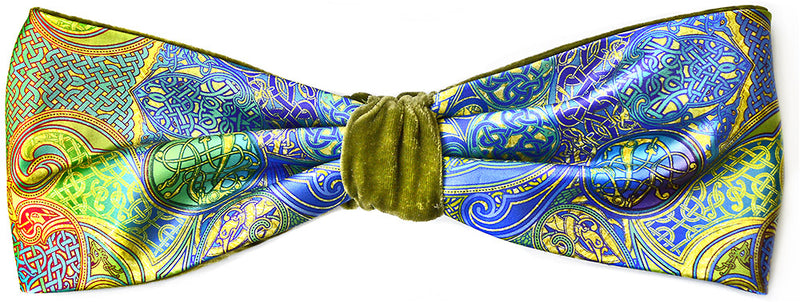 Celtic Dances headband - printed satin & green silk velvet headband by Baba Studio