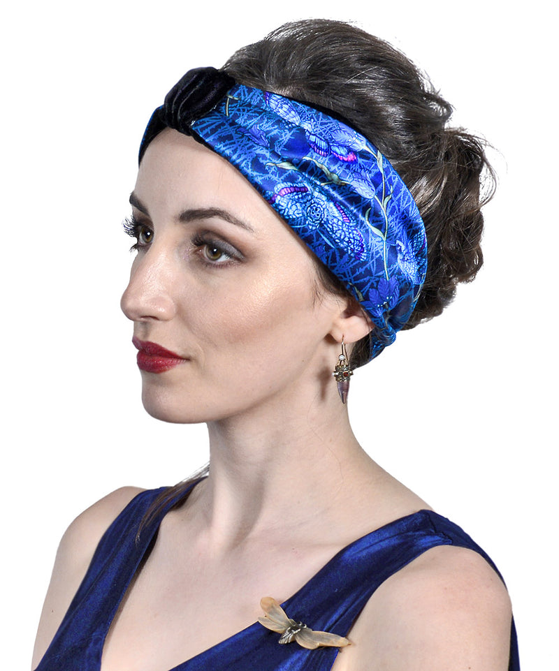 Hawkmoths at Dusk - printed satin & silk velvet headband by Baba Studio. Gothic style headbands.