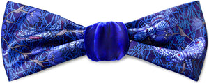 Hawkmoths at Dusk. Printed satin & silk-velvet headband - BLUE version