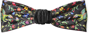Mythical Dragons headband in black silk velvet. By Baba Studio