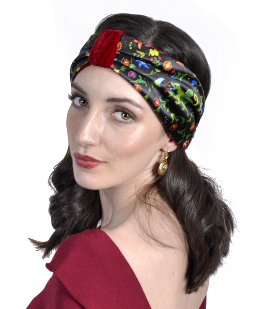Mythical Dragons headband, printed satin & red silk velvet. By Baba Studio