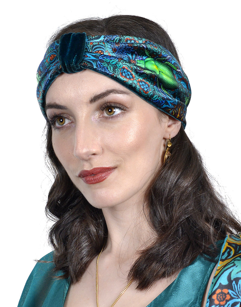 Beetle Belle by Baba Studio - printed satin & silk velvet headband