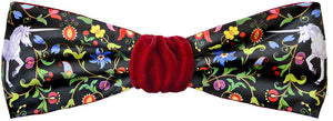 Mythical Unicorns headband in burgundy silk velvet. By Baba Studio