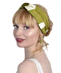 Vintage style headband by Baba Studio, green silk velvet headbands