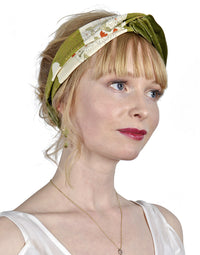 Twist headband in vintage silk kimono & green velvet. Designed by Baba Studio