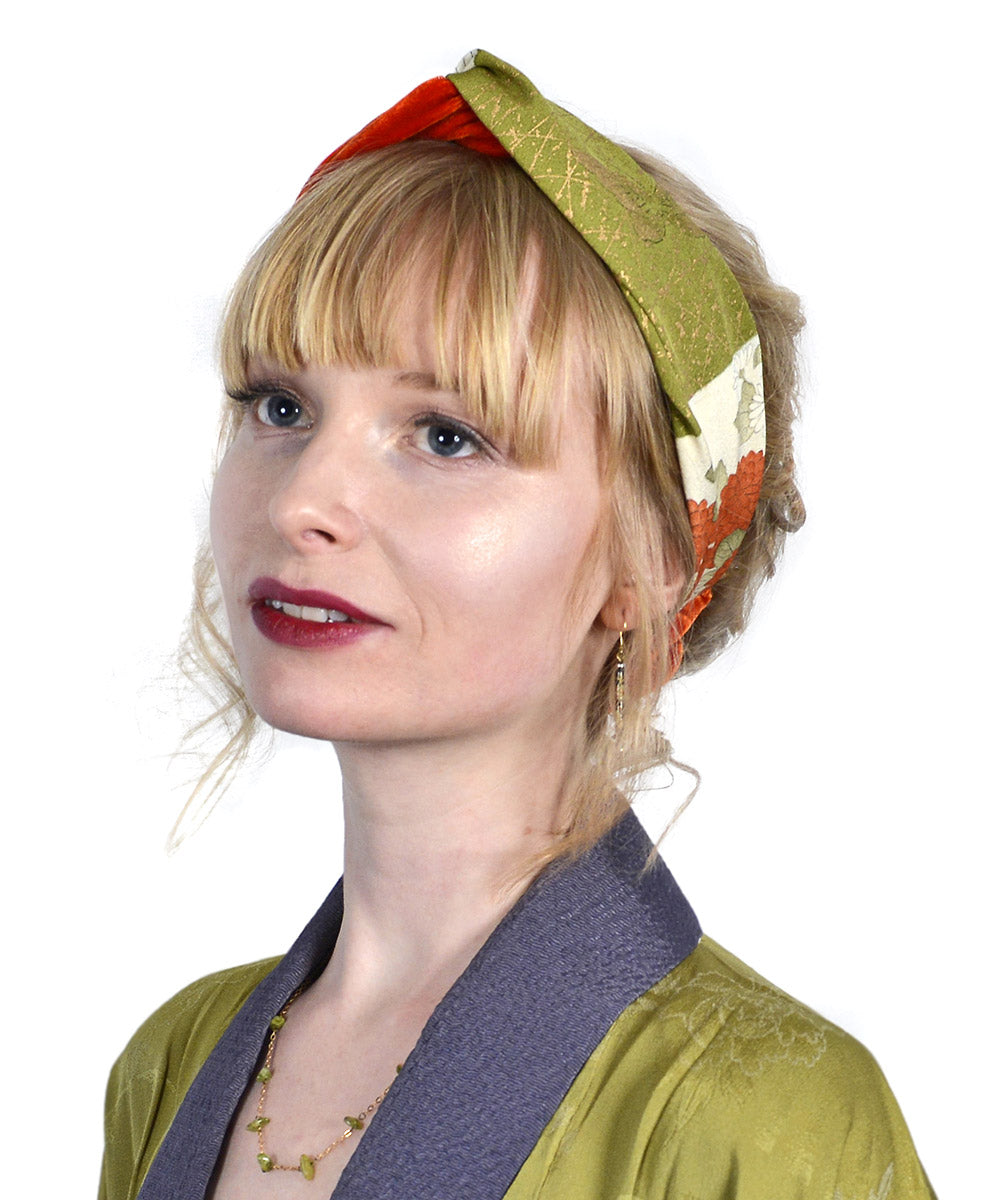 Orange velvet headband, Japanese kimono silk, vintage inspired headbands by Baba Studio