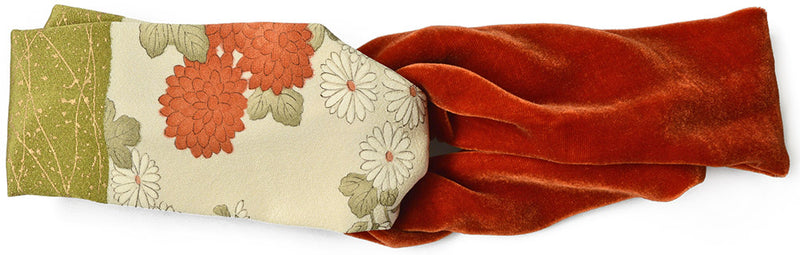 Japanese Chrysanthemums. Vintage silk kimono & silk-velvet twist headband - ORANGE