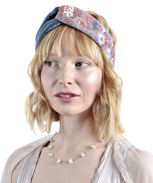 Japanese Blossoms headband, vintage Japanese kimono silk, velvet headbands by Baba Studio