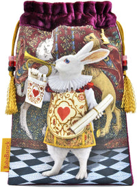 The Herald from The Alice Tarot. A silk velvet Alice in Wonderland tarot bag showing The White Rabbit