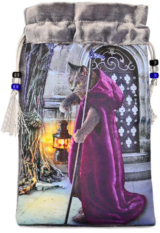 The Hermit — silver silk velvet tarot bag