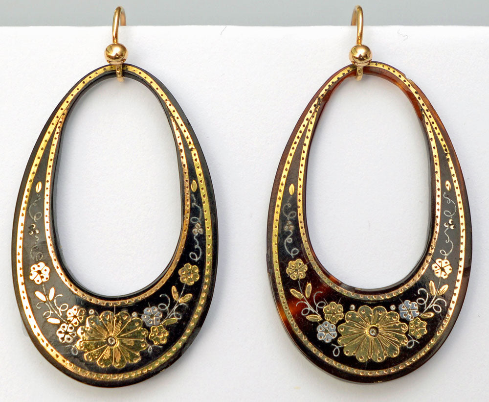 Victorian pique hoop earrings. Gold and silver on antique tortoiseshell.
