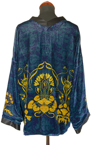 Art Nouveau gilded flowers. TEAL version, silk velvet jacket - Baba Store - 2