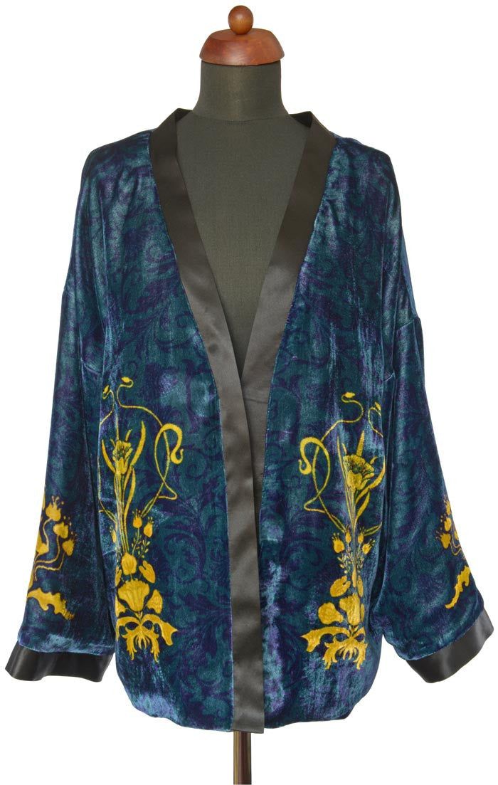 Art Nouveau gilded flowers. TEAL version, silk velvet jacket - Baba Store - 1