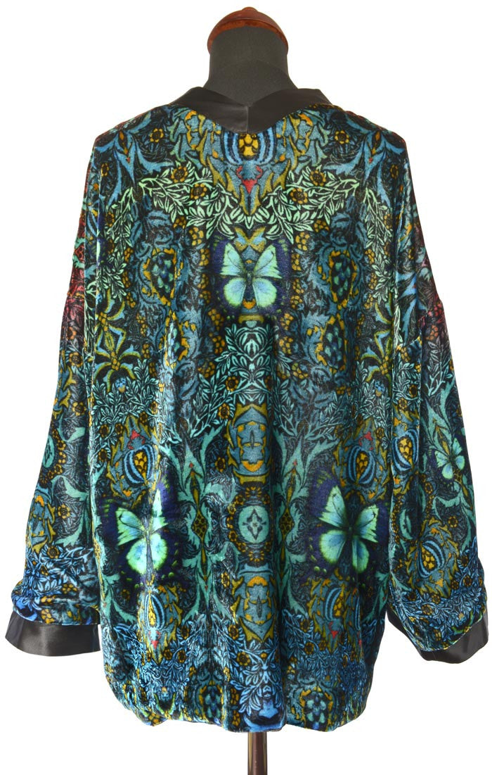 Blue Butterfly Belle, silk velvet jacket - Baba Store - 2