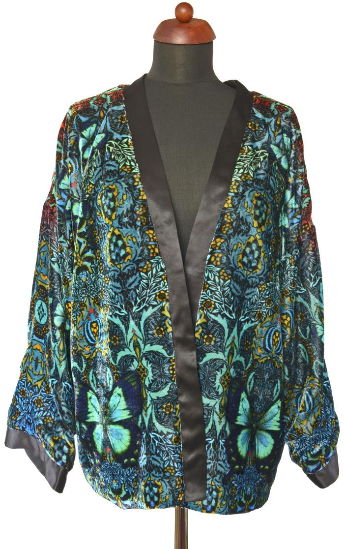 Blue Butterfly Belle, silk velvet jacket - Baba Store - 1