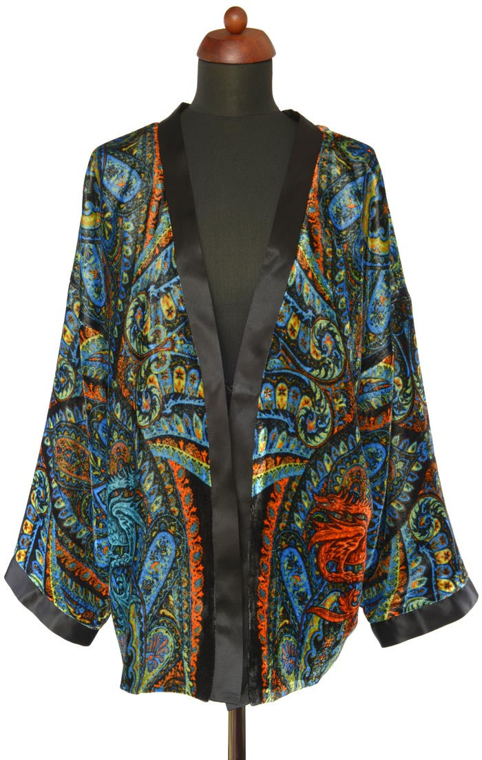 Dancing Dragons, silk velvet jacket - Baba Store - 1