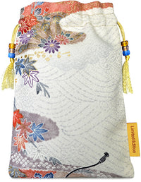 Pure silk tarot bag with floral patterns, handmade tarot bag in vintage Japanese kimono silk.