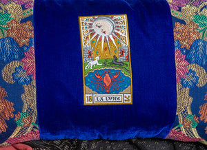 antique brocade, embroidery, la lune, tarot cushion, tarot pillow, antique tarot y