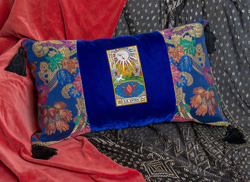 antique brocade, embroidered cushion, la lune, tarot cushion, tarot pillow, antique tarot
