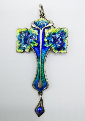 Art Nouveau antique silver and enamel pendant