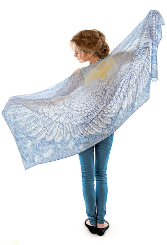 Wings of an Angel, pale version, pure silk-satin scarf/wrap.