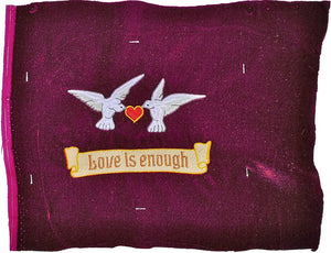 Love is Enough embroidery sample - wine red silk velvet
